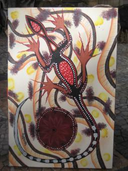 Aborigine Bild 100 x 70 cm Gecko