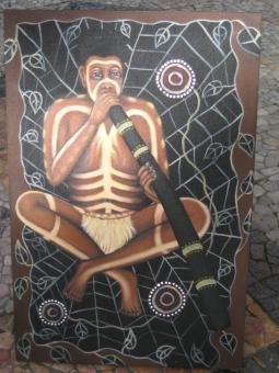 Didgeridoo Bild Spieler im Netz 60 x 40