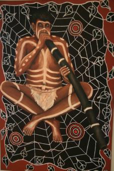 Didgeridoo Bild Spieler im Netz 100 x70cm