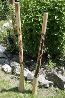 Didgeridoo Teakholz Gecko gelb Schlangenhaut